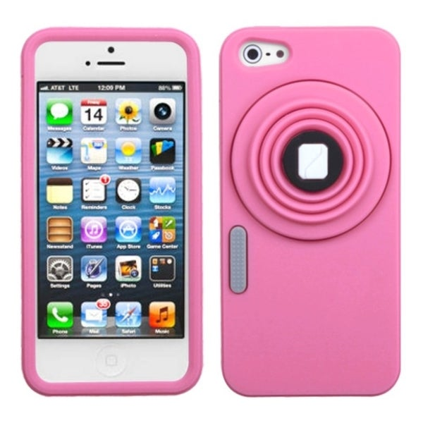INSTEN Pink Camera Style Case Cover for Apple iPhone 5