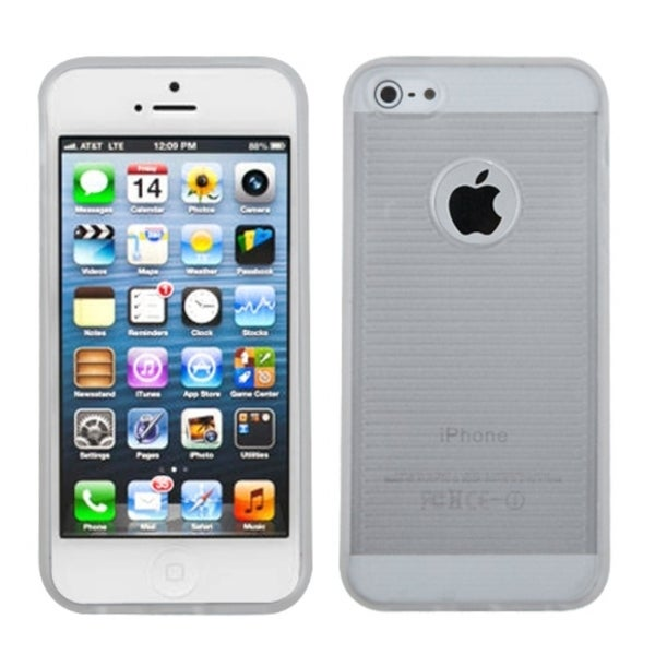INSTEN Clear/ White Gummy Phone Case Cover for Apple iPhone 5