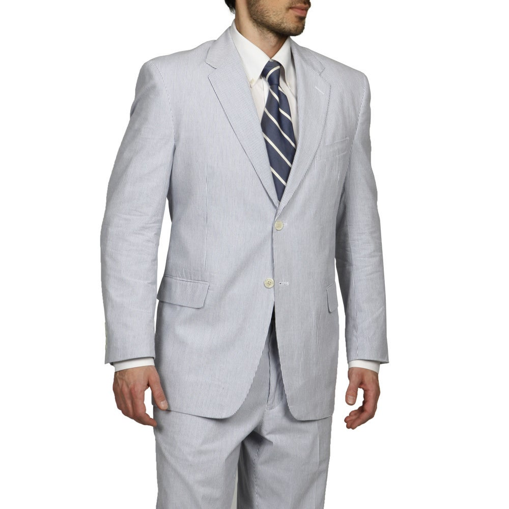 Shop Adolfo Men S Blue White Seersucker Suit Overstock 7886812