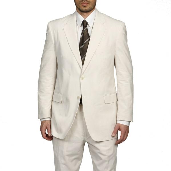 Adolfo Men's Tan/ White Seersucker Suit