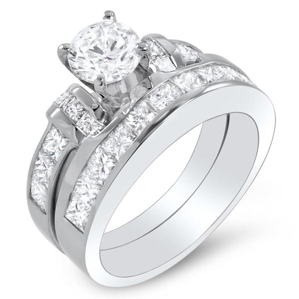 14k White Gold 2 3/4ct TDW Certified Diamond Bridal Ring Set (G-H, SI1-SI2)