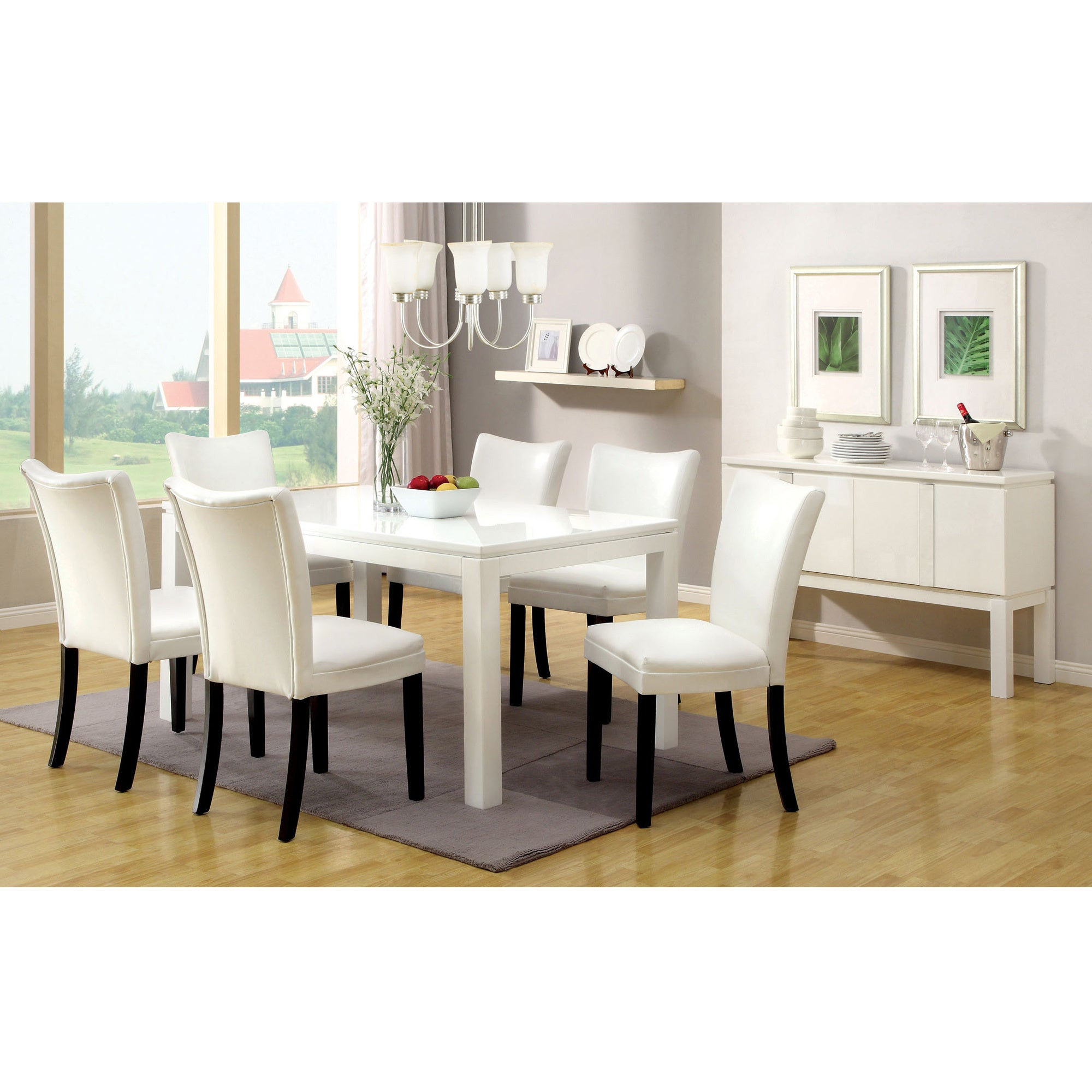Furniture Of America Davao High Gloss Lacquer Contemporary 60 Inch Dining Table