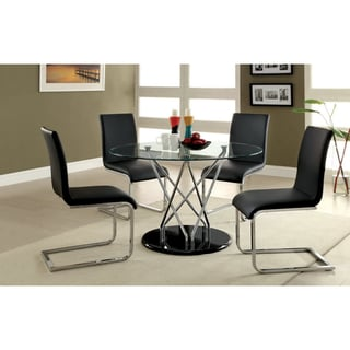Furniture of America Koco Martin 48-inch Tempered Glass Dining Table