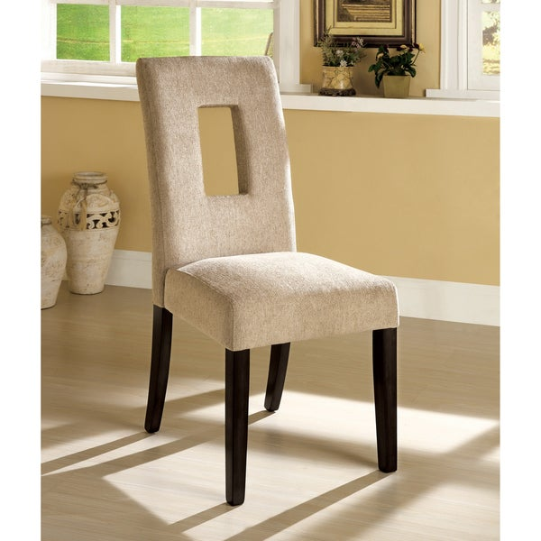 Furniture of America 'Sofella' Beige Contemporary Open Cut Dining Chairs (Set of 2)