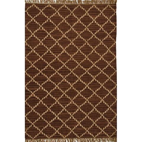 Hand-woven Kilim Brown Wool/ Jute Rug (6' x 9') - 6' x 9'