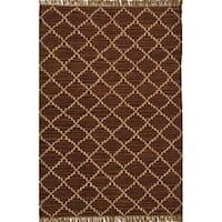 Hand-woven Kilim Brown Wool/ Jute Rug (6' x 9')