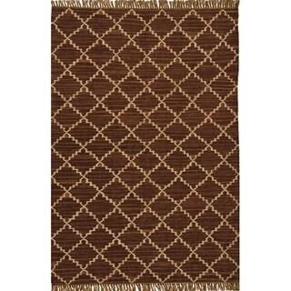 Hand-woven Kilim Brown Wool/ Jute Rug (8' x 11')