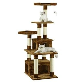 Go Pet Club Brown 67-inch Condo Cat Tree Scratcher