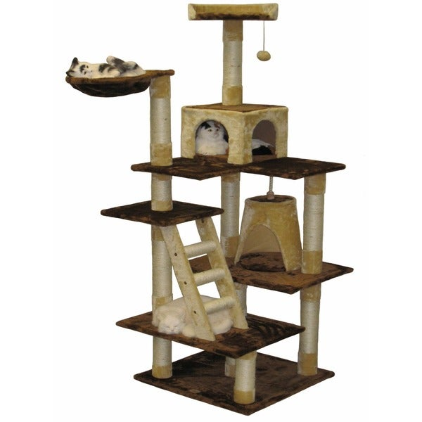 Go Pet Club Beige/ Brown 72-inch Condo Cat Tree