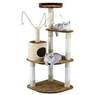 Go Pet Club 60-inch Beige/Brown Condo Cat Tree