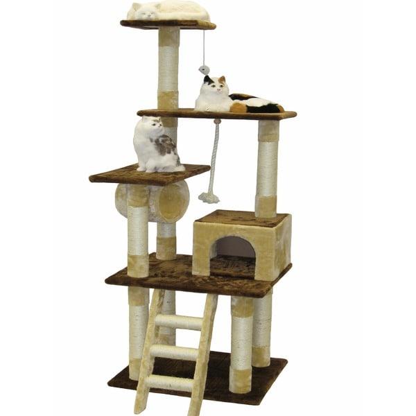 Shop Go Pet Club Beige Brown 67 Inch Cat Tree Condo