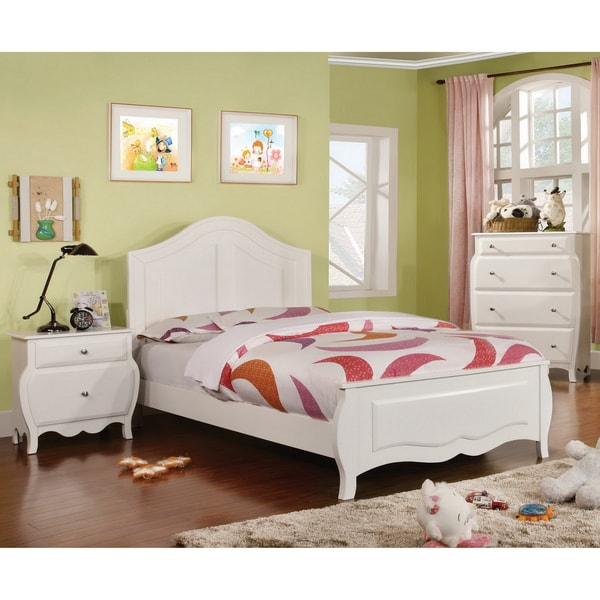 Furniture of America Young Olivia White Solid Wood 3Piece Bedroom