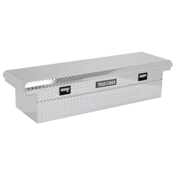72-Inch Low Profile Silver Diamond-Tread Aluminum Cross Bed Truck Tool Box