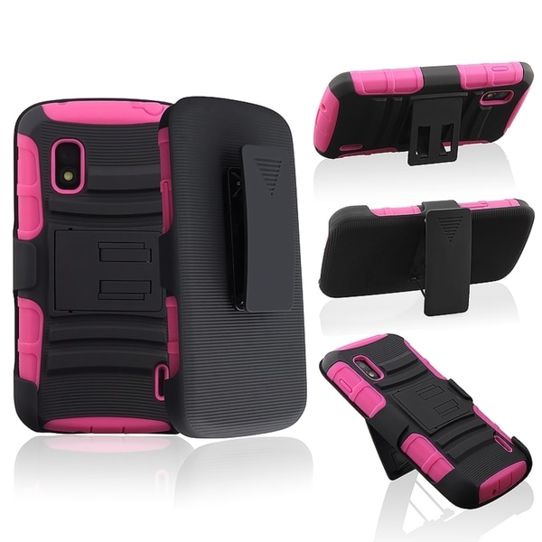 BasAcc Hot Pink/ Black Hybrid Armor Case for LG Nexus 4 E960