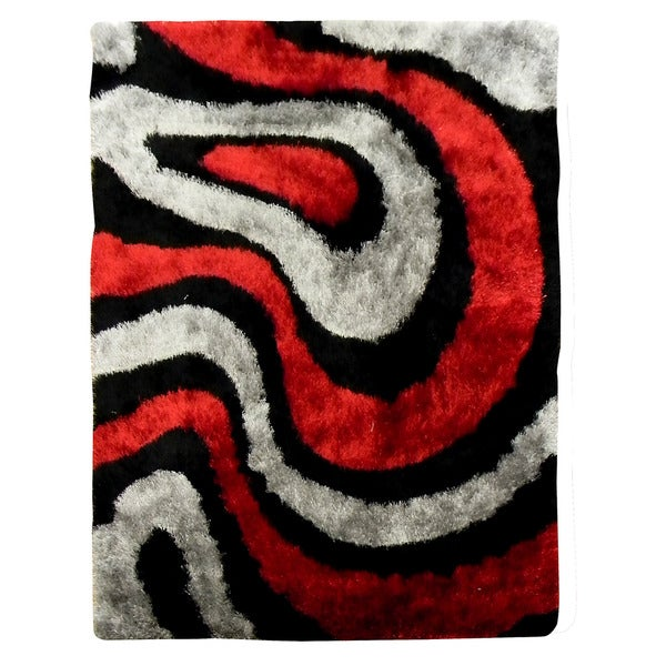 Hand-tufted Flash Shaggy-650 Abstract Wave Red Shag Rug (5' x 7')