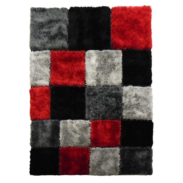 Hand-tufted Flash Shaggy-652 Geometric Square Red Shag Rug (5' x 7')