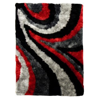 Hand-tufted Flash Shaggy-654 Abstract Wave Red Shag Rug (5' x 7')