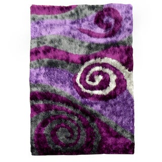 handtufted flash shaggy655 abstract swirl lilac shag rug 5u0027 x
