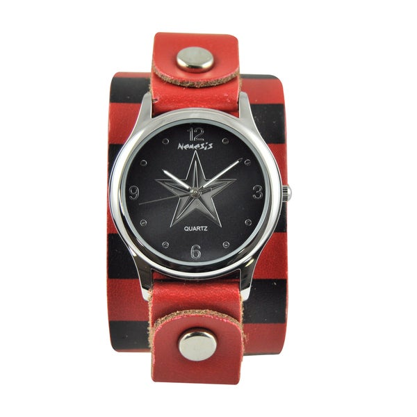 Nemesis Women's Silvertone Star Red/ Black Leather Band Watch