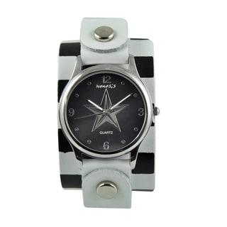 Nemesis Women's Silvertone Star White/ Black Leather Band Watch