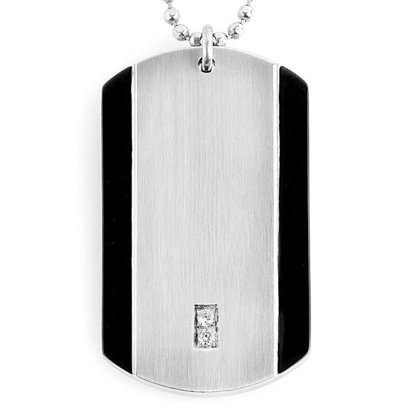 Black-plated Stainless Steel Cubic Zirconia Dog Tag Necklace