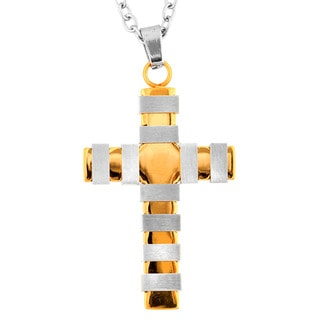 Goldtone Stainless Steel Multi-band Cross Necklace
