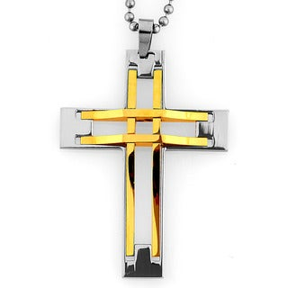 Goldtone Stainless Steel Stitch Cross Necklace