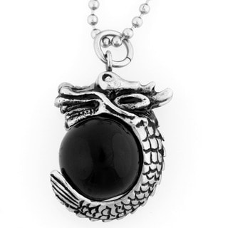 Stainless Steel Black Resin Orb Dragon Wrap Necklace