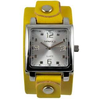 Nemesis Women's Lite Square Yellow Leather Strap Watch