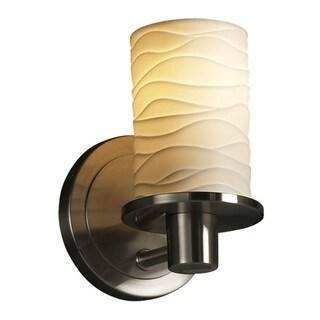 Justice Design Group Waves Cylinder Flat Rim Brushed Nickel 1-light Wall Sconce