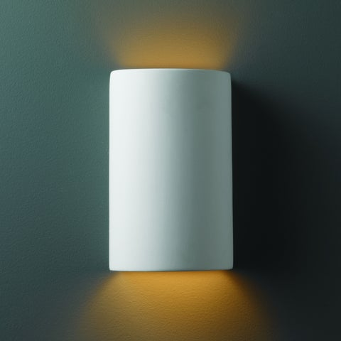 Strick & Bolton Wes Small Cylinder Ceramic Bisque 1-light Wall Sconce