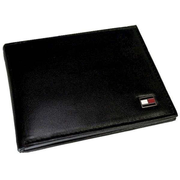 Tommy Hillfiger Men's Oxford Black Leather Logo Wallet