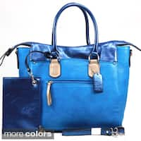 Dasein Metallic Contrast Tote Bag with Coin Pouch