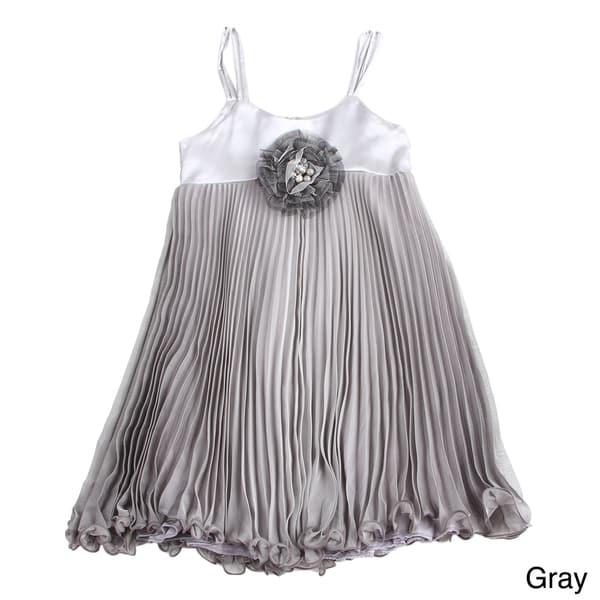 Paulinie Girls Sleeveless Pleated Fancy Dress
