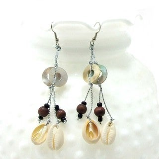 Handmade Earthy Circles Cowrie Sea Shells Dangle Earrings (Philippines)
