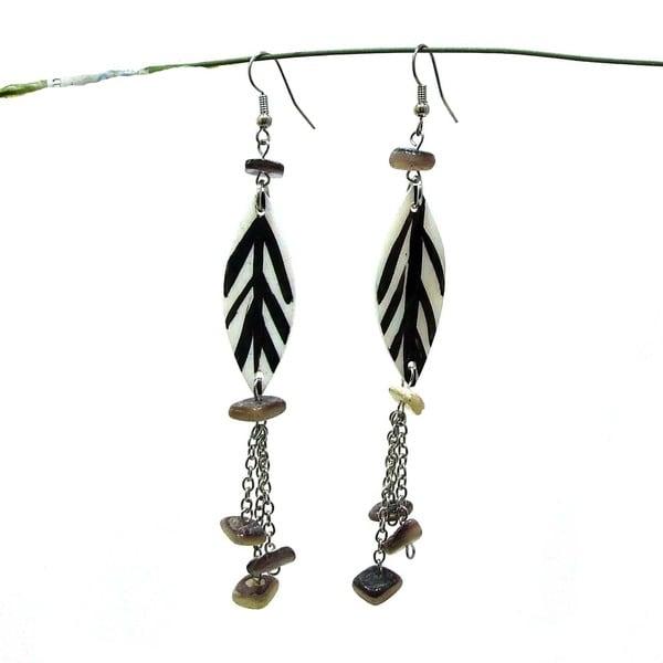Lustrous Leaves Handmade Natural Shell Earrings (Philippines)