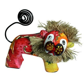 Hand-Painted Lion Figurine (Indonesia)