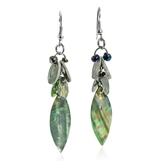 Handmade Peacock Leaf Natural Abalone Shell Dangle Earrings