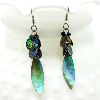 Handmade Peacock Leaf Natural Abalone Shell Dangle Earrings (Philippines)