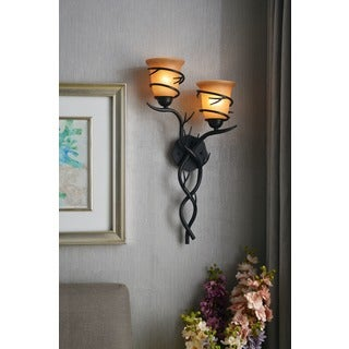 Pine Canopy Tombigbee 2-light Blackened Bronze Wall Sconce