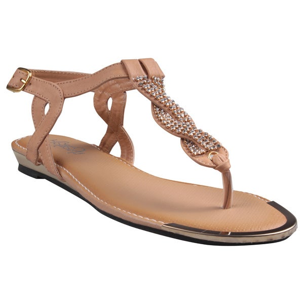 Refresh by Beston Women's 'Jetta-06' Tan Jeweled T-strap Gladiator Sandals
