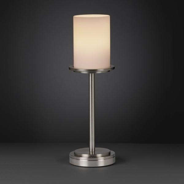 Justice Design Group Fusion Dakota 1-light Brushed Nickel Table Lamp, Opal Cylinder - Flat Rim Shade