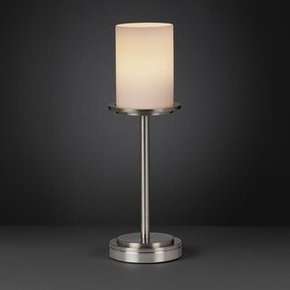 Justice Design Group Fusion Dakota 1-light Brushed Nickel Table Lamp, Opal Cylinder - Flat Rim Shade
