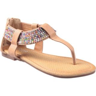 Refresh by Beston Women's 'Maddy' Camel Gladiator Rhinestone Thong Sandals