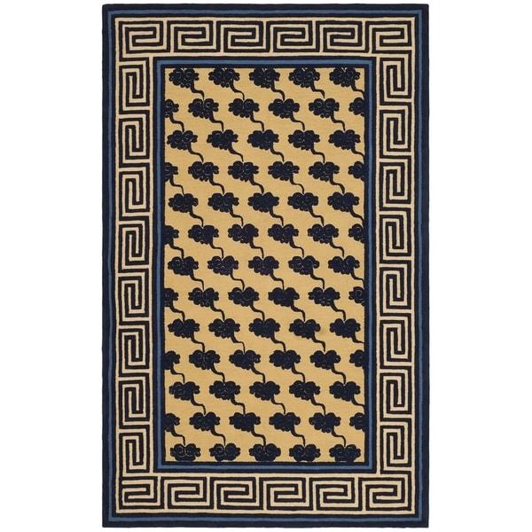 Safavieh Hand-hooked Newport Beige/ Blue Cotton Rug - 8'6 x 11'6