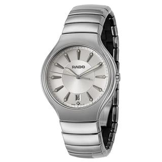 Rado Men's 'Rado True' Silvertone Ceramic Swiss Quartz Watch
