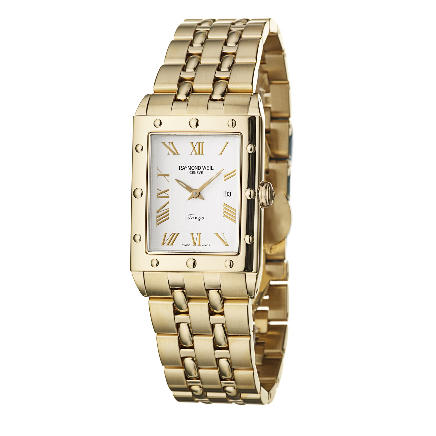 Raymond Weil Men's 5381-P-00308 Tango Square' Silver Dial Yellow Gold Stainless Steel Quartz Watch