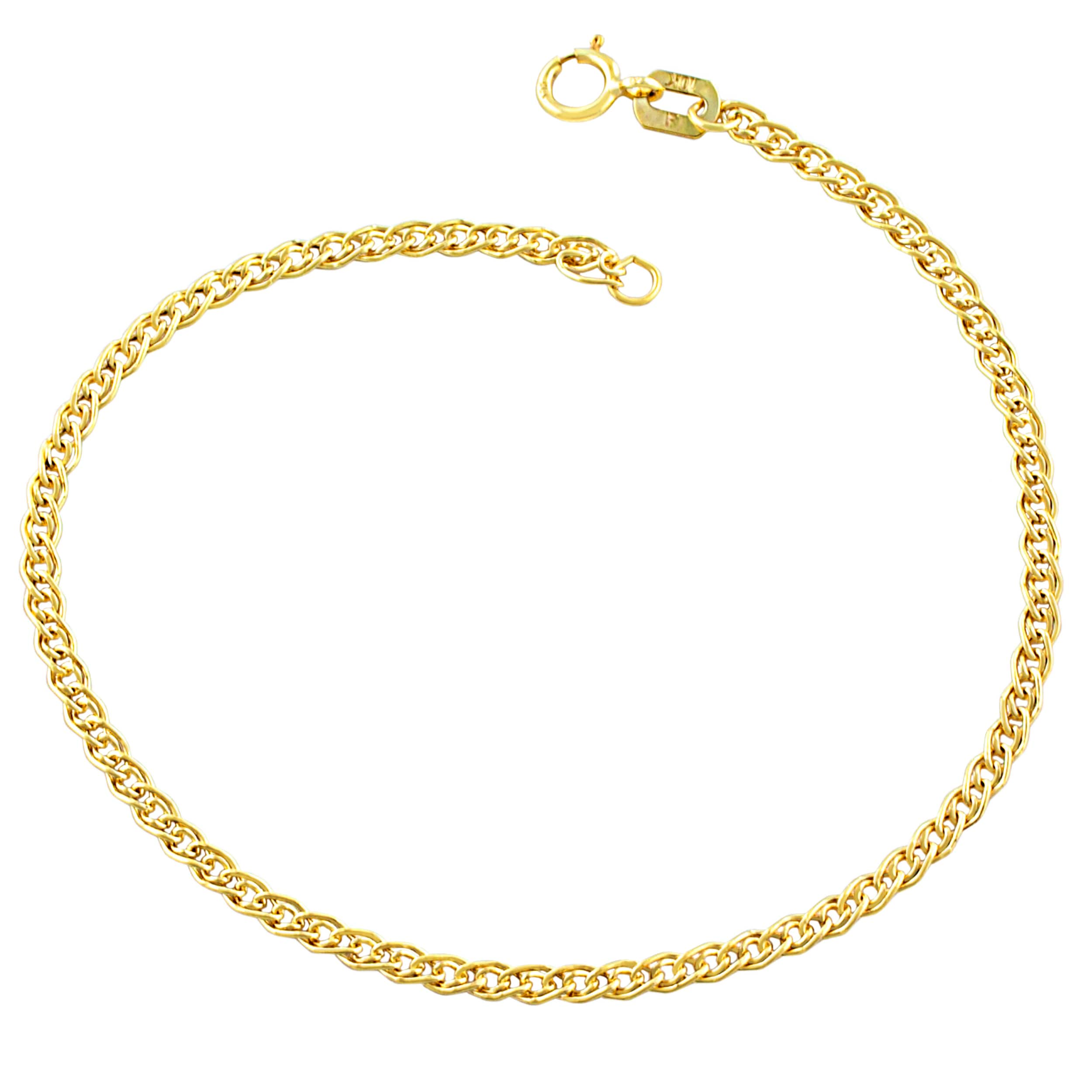 Fine Jewelry 2019 New Style 14k Two Gold Abstract Fancy Link Design Ankle Bracelet 2.8 Grams Anklet Clearance Price