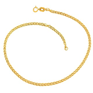 Fremada 10k Yellow Gold 2.4-mm Hollow Inner Link Adjustable Anklet