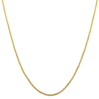 Fremada 10k Yellow Gold 1-mm Round Adjustable Wheat Chain